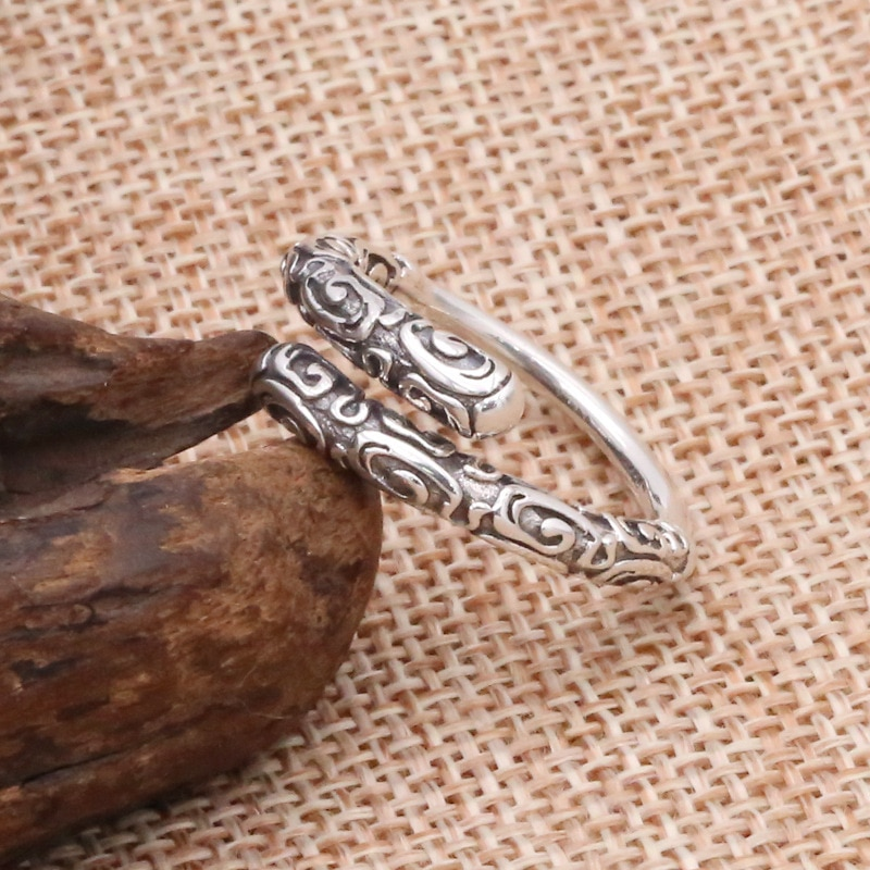 Anillo de plata FNJ 925 con diseño de nube de la suerte, joyería Sunwukong, nuevos anillos de plata de ley S925 para mujer y hombre, tamaño ajustable 6-9