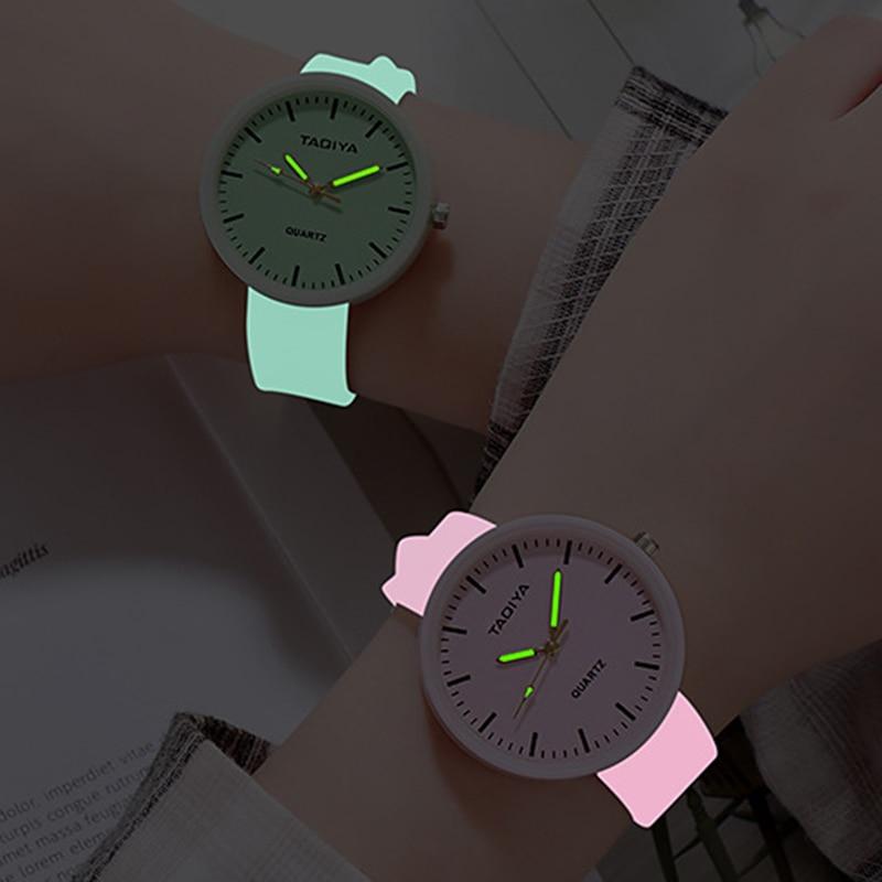 Atacado relógios de quartzo feminino crianças criativo luminoso silicone marca amantes presentes românticos relógio relogio feminino venda superior