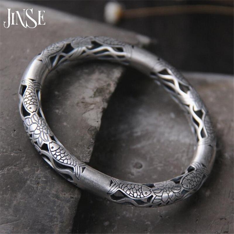 JINSE Wholesale 999 Silver Bangle Bracelet Antique Thai Silver Fish & Lotus Flower Hollow Bangle 7.80mm Inner 60mm 29G