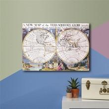 Oude Wereldkaart Cartografie Geografie Vintage Poster Retro Muur Schilderen Woonkamer Print Canvas Antieke Klassieke Behang