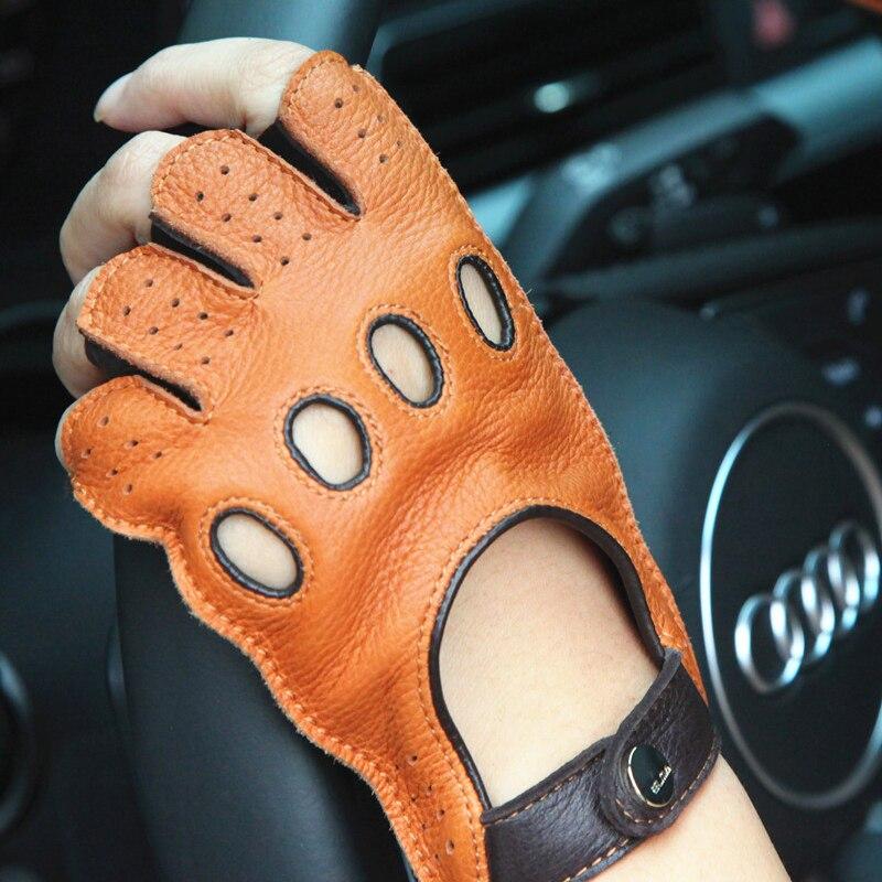 2020 señora nueva guantes de ante conducción antideslizante Semi-dedo cuero genuino mujer Deerskin guantes transpirable sin forro EL116