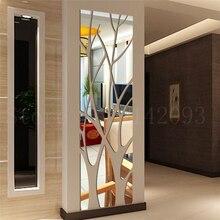 Nuevo 3d diy pegatinas de acrílico para pared de espejo árbol decoración del hogar pegatina de oro plateado decoración moderna de la sala de estar dormitorio