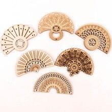 Manualidades de madera hecho a mano hogar Decoración álbumes de recortes de hacer pendientes bricolaje mezclar estilo chino Retro ventilador de adornos de madera 65mm 6 uds