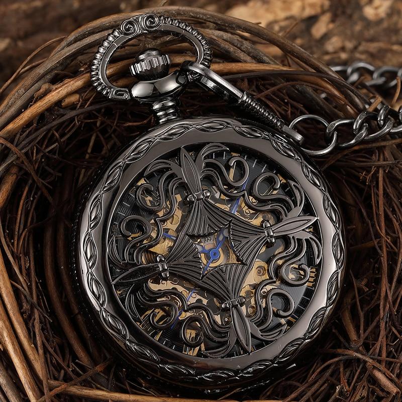Cruz retro grabado cuerda a mano Reloj de bolsillo mecánico hombres hueco esqueleto negro Steampunk collar Fob Unisex hombres reloj colgante