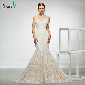 Dressv elegant sample spaghetti straps trumpet wedding dress sleeveless lace floor length simple bridal gowns wedding dress