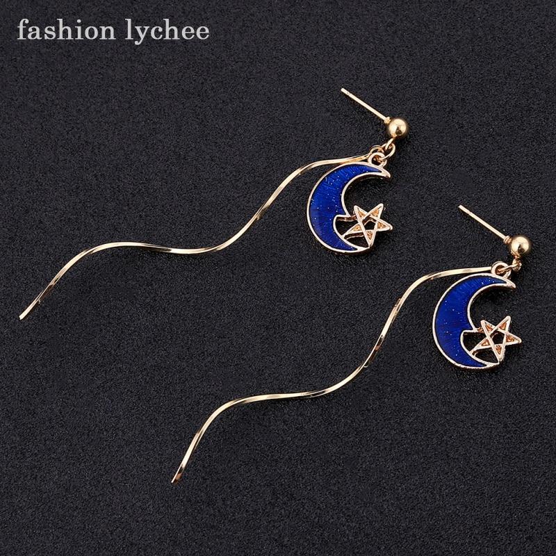 fashion lychee New Arrival Star Moon Long Curved Dangle Earring Women Girls Lovely Ear Jewelry Accessories