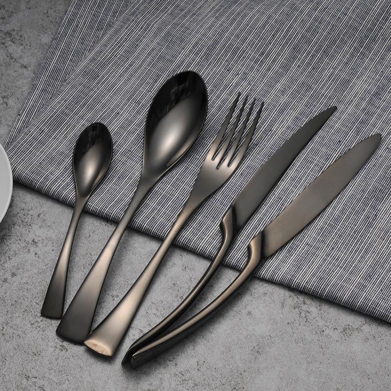 Luxe Zwarte Bestek Set Rvs Westerse Voedsel Servies Sets Vork Steak Mes Theelepel Diner Servies Set 4 Stuks/5Pcs