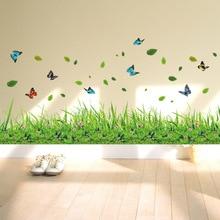 Vert herbe coloré papillon fleur plinthe Stickers muraux salon chambre salle de bain vinyle décalcomanies Art décoration de la maison dc23