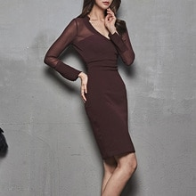 BGTEEVER Elegant Deep V-neck Transparent Women Party Dress OL Style Slim Waist Female Pencil Dress 2020 Women Workwear Dress