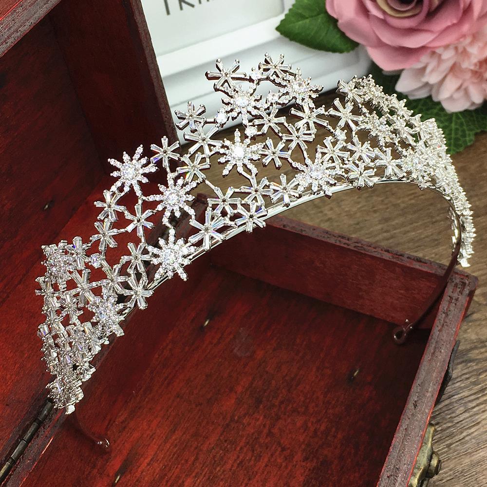 Tiara de Zirconia cúbica pavimentada, corona de copo de nieve de Zirconia cúbica CZ Coroa, accesorios para el cabello de boda, joyería, bisutería, Cheveux WIGO1289