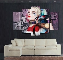 HD imprimé peinture Suicide escouade Harley Quinn toile impression Art décor à la maison mur Art photos pour salon pas de cadre, 5 pièces