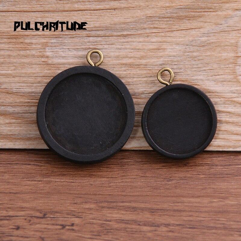 6 uds 20/25mm tamaño interior Color negro redondo madera cabujón Base ajuste encantos colgante collar hallazgos 8D