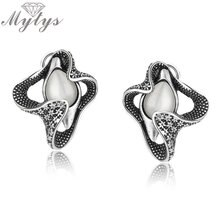 Mytys New Arrival Antique Earrings Opal Flower Core Earrings For Women Retro Style Hot Sale Jewelry Party Accessory CE358