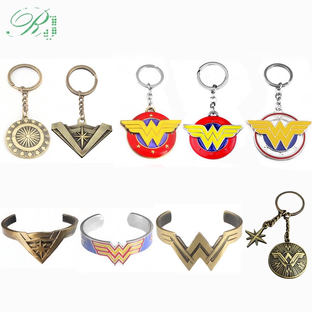 RJ Hot Wonder Woman W Arms Shield Keychains Pendants Justice League Logo Chaveiro Avengers 3 Women Men Car Keyring Jewelry Gift