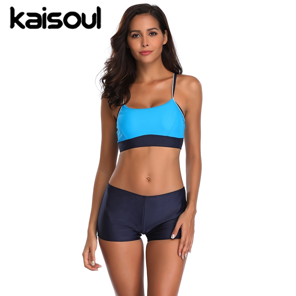 2020 New Sport Two Pieces Swimsuit Women Top Bottom Bandeau Swimwear Boxers Bikini Blue Beach Bqiuini Summer Bathing Suit