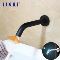 JIENI robinet de salle de bains noir chrome  robinet de salle de bains a capteur mural  robinet automatique a capteur tactile gratuit  robinet mitigeur de salle de bains