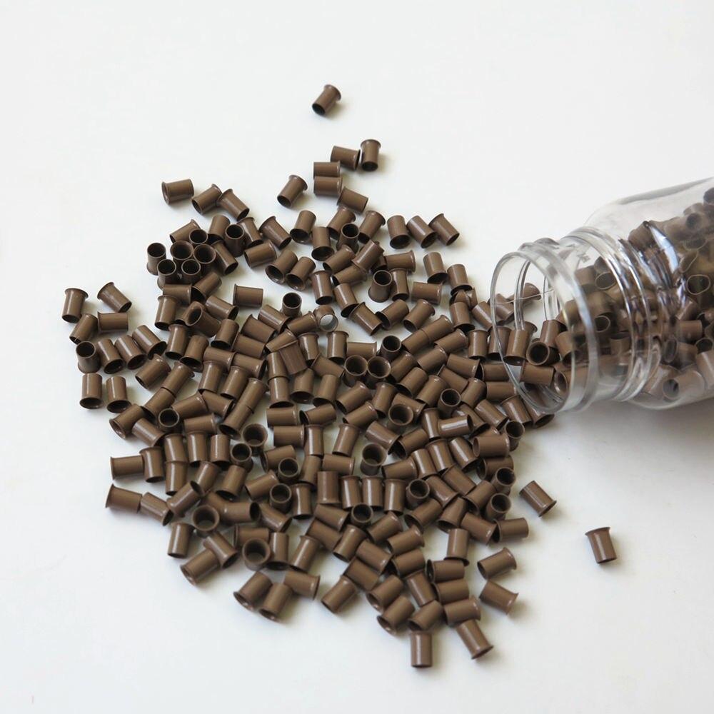 1000 unids/lote 4,0x3,6x6,0mm Tubo de cobre de Color marrón Micro Ring Euro cerraduras para extensiones de cabello humano pre-enlazado Opción de 8 colores