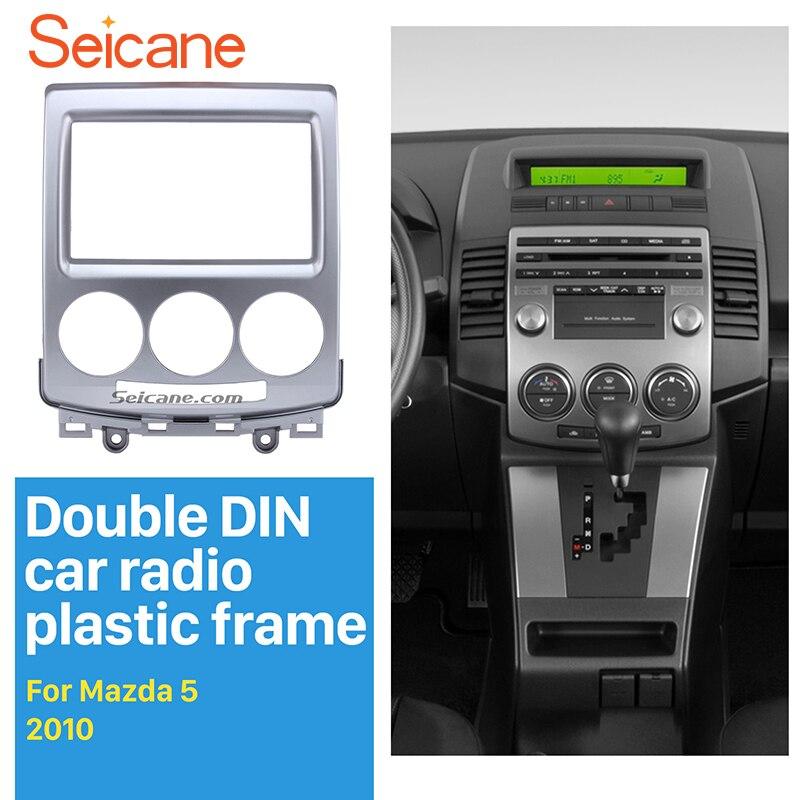Seicane Dash CD Trim Panel Kit 2 Din Car Radio Fascia for 2005 2006 2004 2007-2010 Mazda 5 Stereo Cover Plate refitting Frame