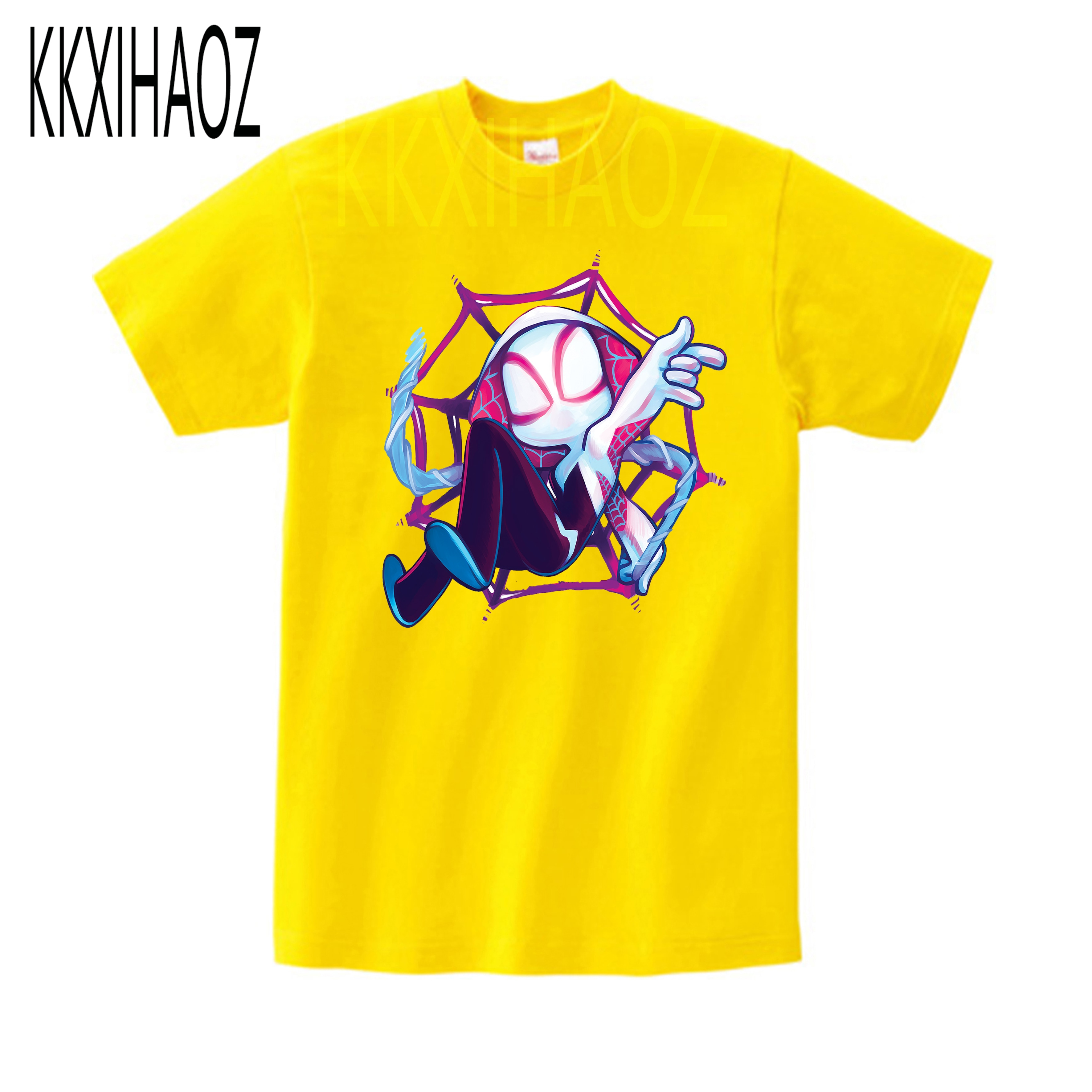 2020 interessante spider-gwen spider-man bonito dos desenhos animados modal kidswear menino/menina verão camiseta de manga curta roupas do miúdo t camisa menino