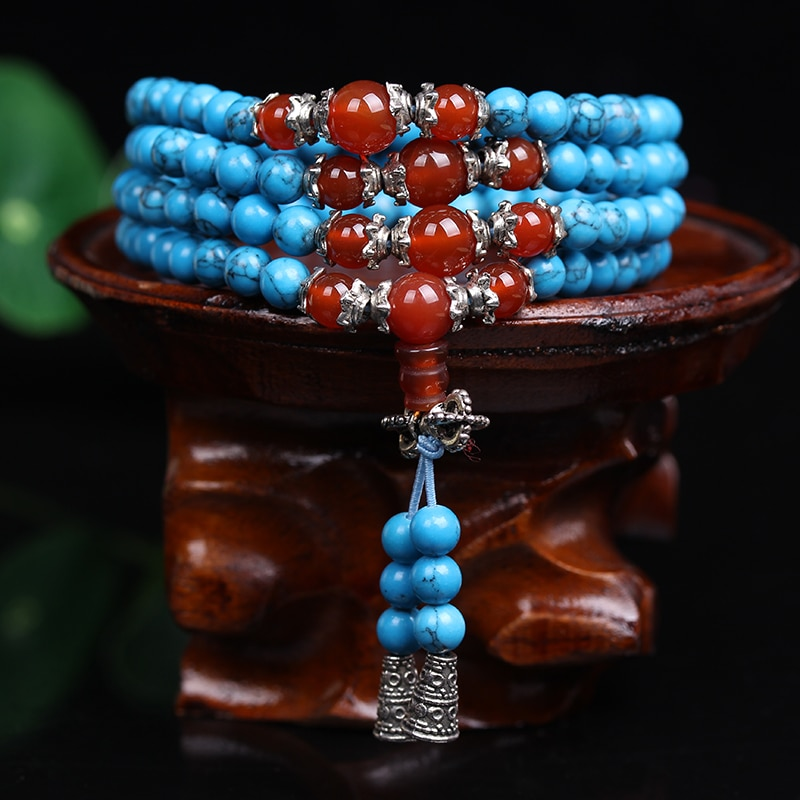 Натуральная мода 6 мм бусины из синего камня Тибетские буддийские 108 молитвенные бусы ожерелье Gourd mala молитвенный браслет для медитации