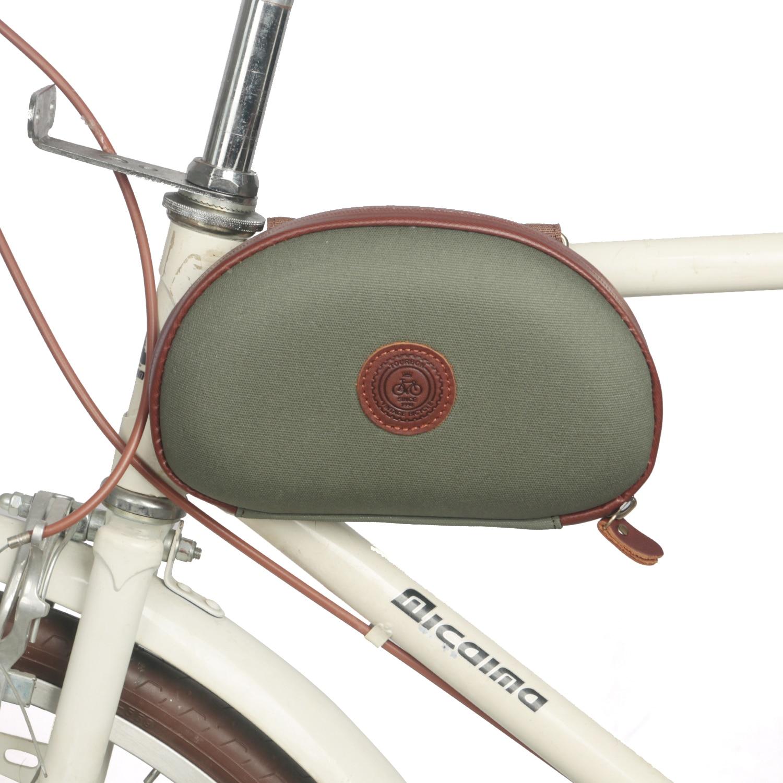 Tourbon Retro bicicleta marco tubo bolsa manillar frontal de bicicleta bolsa de transporte verde encerado lona impermeable ciclismo Accesorios