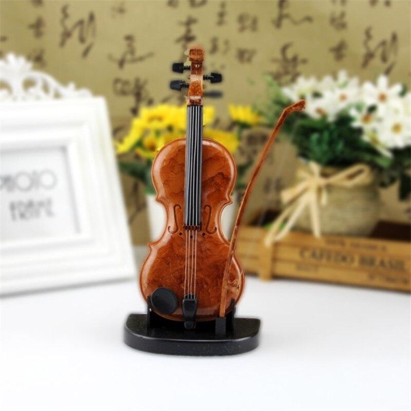 Caja de música de violín hecha a mano, adornos, caja de música, regalo de cumpleaños, artesanía en miniatura para violín, decoración para el hogar