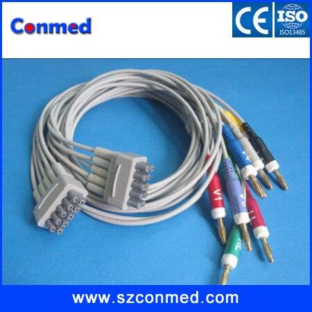 5 Juegos por lote, compatible con nuevo ge-marquette multilink leadwire de 10 conductores EKG, Banana4.0 AHA con CE 900112-001 (AHA) 38401816