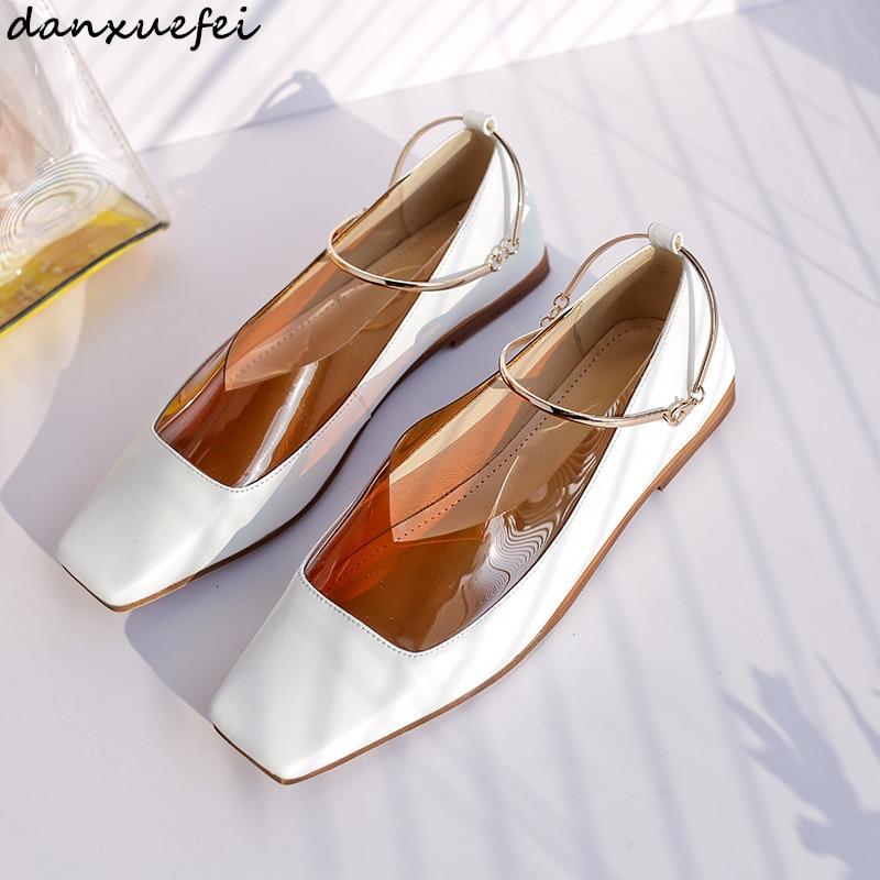 3 colores de talla grande 42 mujeres genuinas charol tobillo Correa flats slipons alta calidad cómodo mujer Bailarinas zapatos