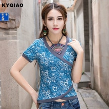 KYQIAO онлайн Китайский магазин 2020 женская летняя элегантная Этническая футболка с коротким рукавом и принтом на шее синяя футболка tribe blusa
