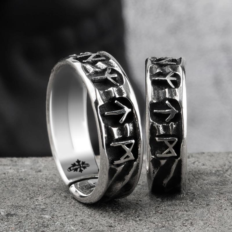 Скандинавские мифологии Руна викингов S925 стерлингового серебра кольца для мужчин и женщин Kabala Тотем индекс кольцо Модные ювелирные изделия