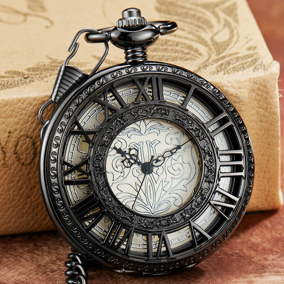 Retro Vintage tallado exquisito Dial Reloj de bolsillo mecánico FOB cadena de lujo hueco negro romano cuerda a mano reloj de bolsillo para hombres reloj