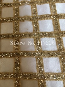 New arrival JRB-5732 glued glitter African net lace Gold color French lace fabric with glitter