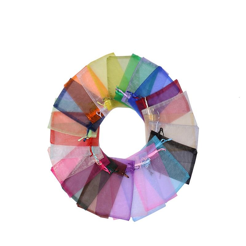 Элегантные однотонные сумки из органзы, 50 шт., 7x9 см, 9x12 см, 10x15 см, 13x18 см