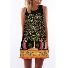 2020 خمر المرأة فستان صيفي الطباعة الرقمية فساتين الإناث فضفاضة المناسب Vestidos فستان العرقية الذاتي صورة
