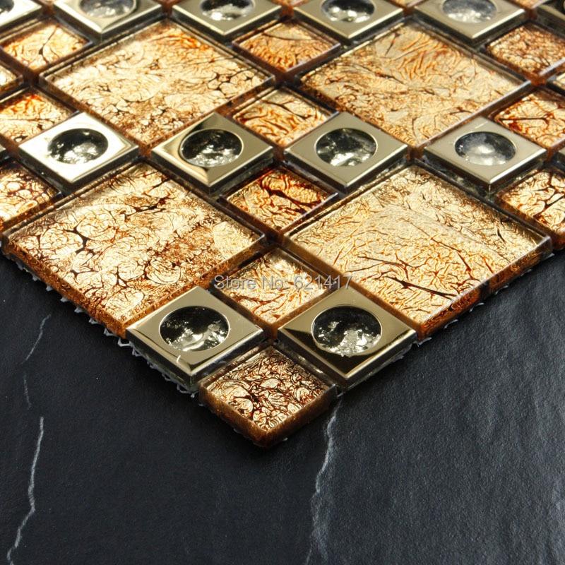 Naranja electroplate Arcos Dorados mosaico azulejos HMGM1100 salpicaduras de cocina pared azulejos pegatina baño suelo azulejo envío gratis