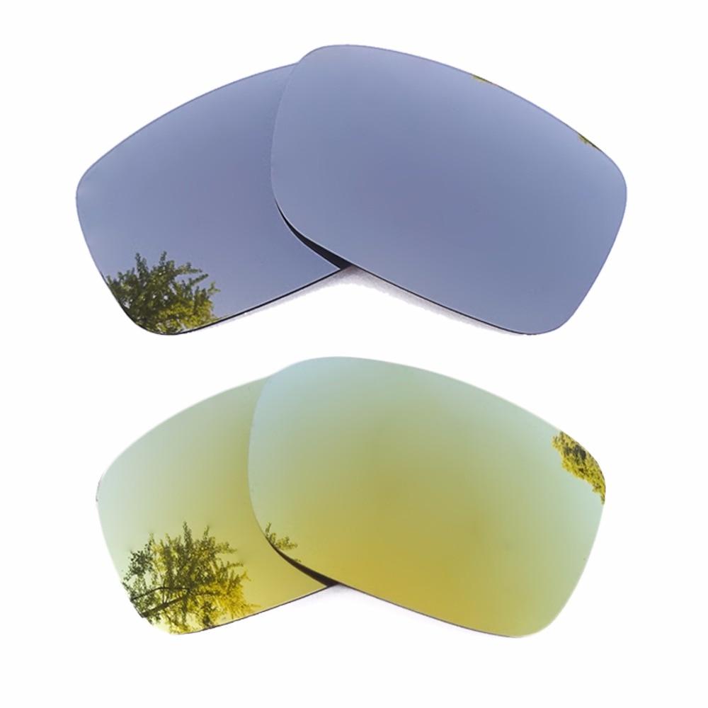 Silver Mirrored & 24K Gold Mirrored Polarized Replacement Lenses for Crankshaft Frame 100% UVA & UVB