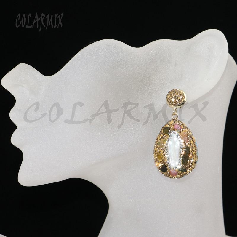 6 أزواج من الأقراط متعددة الألوان للنساء ، أحجار الراين الذهبية ، شكل قطرة ، مجوهرات هدايا للسيدات ، 8036