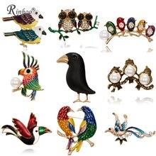 Mode à la main mignon oiseaux perroquet broches broches pour femmes émail broche cristal Animal bébé oiseau broche broche bijoux de noël