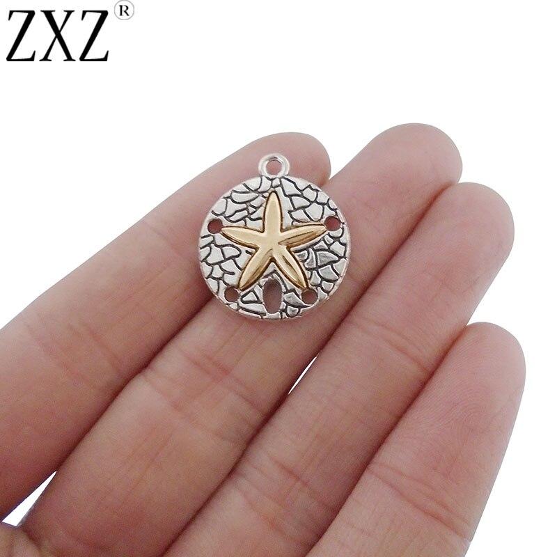 Colgantes ZXZ de 10 Uds de arena con estrellas de mar doradas para collar, pulsera, accesorios para hacer joyas