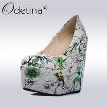 Odetina 2017 Fashion Women Flower Floral Print Pumps Platform Wedges Extreme High Heels Round Toe Ladies Party Shoes Big Size 43