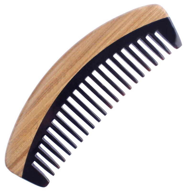 natural shen guibao wood buffalo horn exquisite thick long handle wooden comb coarse teeth hair massage no static combs Hair Comb - Wide Tooth Wooden Detangling Comb for Curly Hair - No Static Sandalwood Buffalo Horn Comb for Men and Women