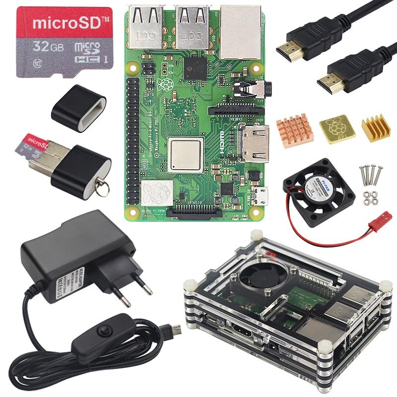 Raspberry Pi 3 Modelo B Plus + carcasa acrílica de 9 capas + ventilador + fuente de alimentación + disipador de calor para Raspberry Pi 3 Modelo B + 3B Plus