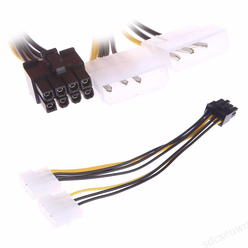 Tablet-OOTDTY 2x4-Pin Molex LP4 a 8 pines PCI Express tarjeta de vídeo ATX PSU Cable adaptador de corriente-sata a usb