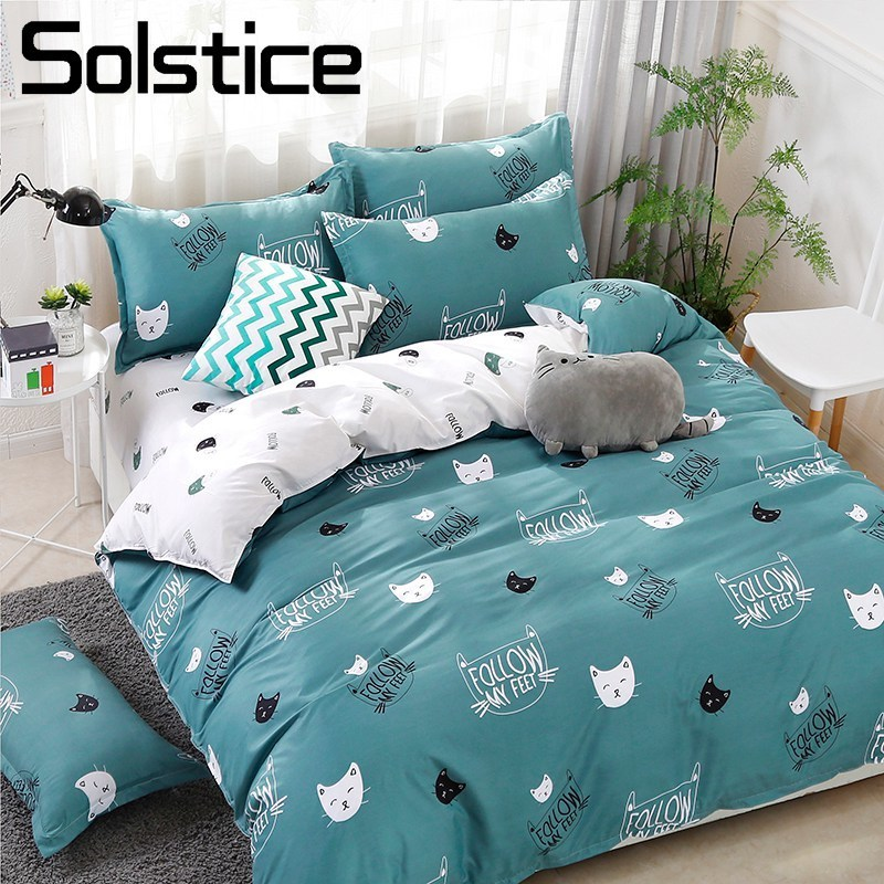 Solstice Home Textile Cyan Cute Cat Kitty Duvet Cover Pillow Case Bed Sheet Boy Kid Teen Girl Bedding Linens Set King Queen Twin
