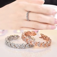 fashion jewelry simple inlaid triangle shape zircon crystal cz ring for woman female open ring manufacturers direct sale