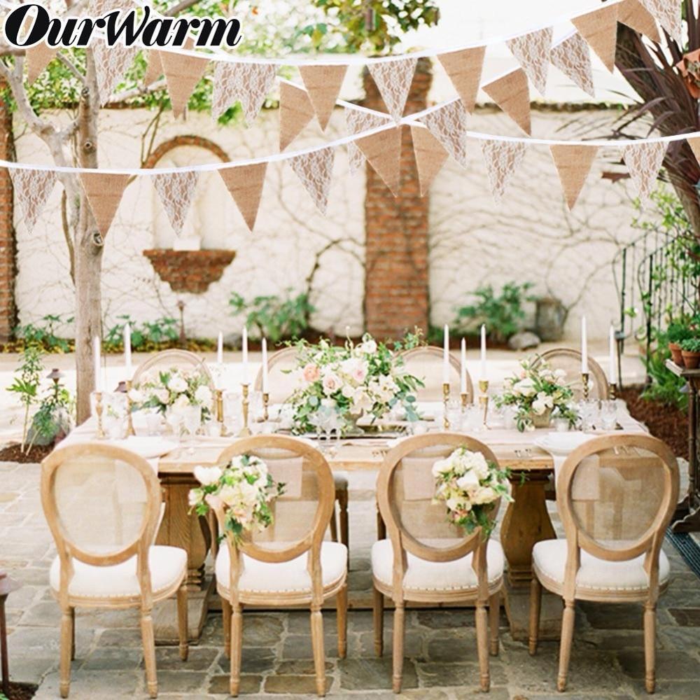 OurWarm 3M винтажная джутовая гессенская свадьба украшение Баннер фон лента из натуральной мешковины 13 флагов для вечерние принадлежности