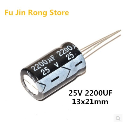 Alta calidad 10 unids/lote condensador electrolítico de alta calidad 25V 2200UF 13x21mm 2200UF 25V IC