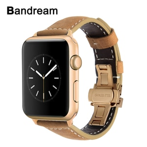 Italy Genuine Leather Watchband for iWatch Apple Watch SE 38mm 40mm 42mm 44mm Series 1 2 3 4 5 6 Butterfly Clasp Band Strap