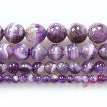 Precio de fábrica redondo mezcla de morado Color amatista cuentas de piedra Natural 6 8 10 12mm diy pulsera Collar para la fabricación de joyas