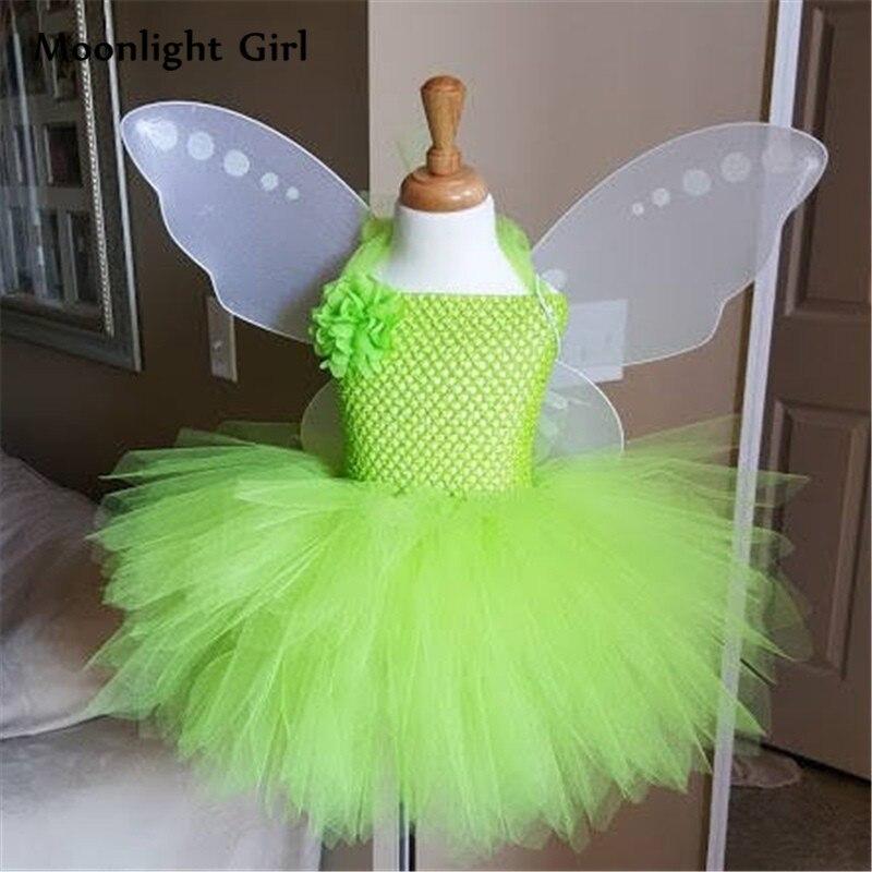 Green Fairy Costumes Wings Flower Girl Tutu Dress Halloween  Costume For Kids St. Patricks Day Party Dresses PQ032